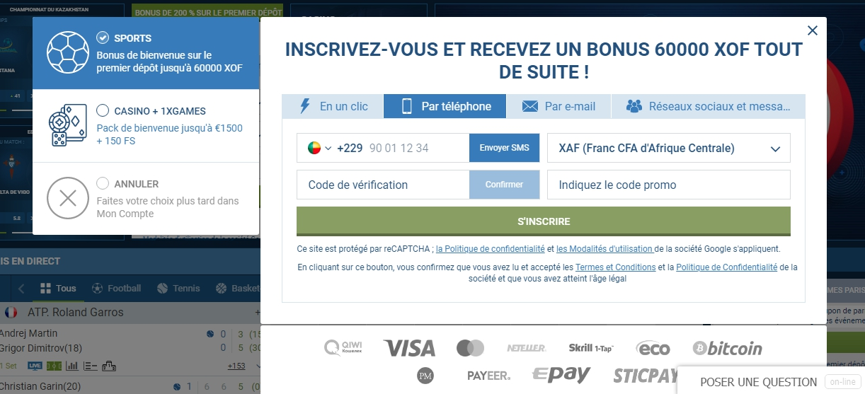 1xBet inscription par e-mail